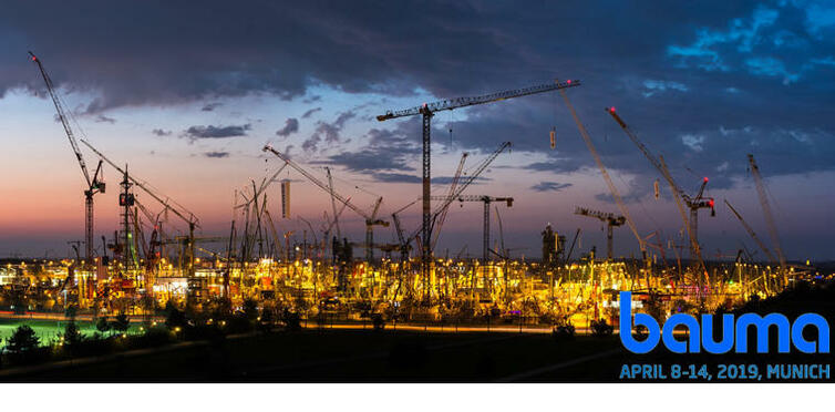 bauma16_panorama photo blue hour logo